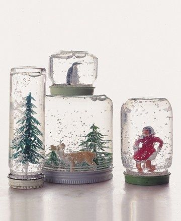 Home-made snow globes: a jam jar, glitter and a Christmas object