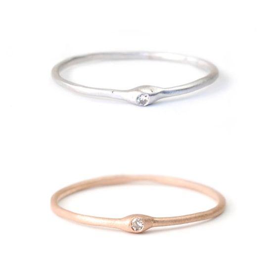 Stapeln Ringe DiamantRing Verlobungsring Stapeln Gold von NIXIN