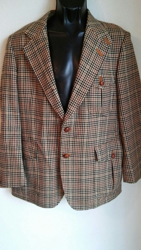 Austin Reed Rweed Sport Coat Hunting Jacket Wool Leather Buttons Made In Uk 40s Fashion Clothing Shoes Accessor Tweed Sport Coat Hunting Jackets Sport Coat