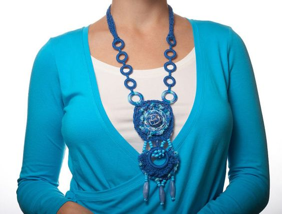 Blue, turquoise gorgeous crochet necklace - Bright style pendant for modern woman - Women's fashion crochet jewelry