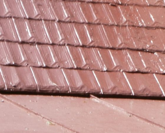 Three Old Tin Roofing Styles With 10 Year Traditional Red Coating Applied Roof Shingles Shingling Metal Shingles