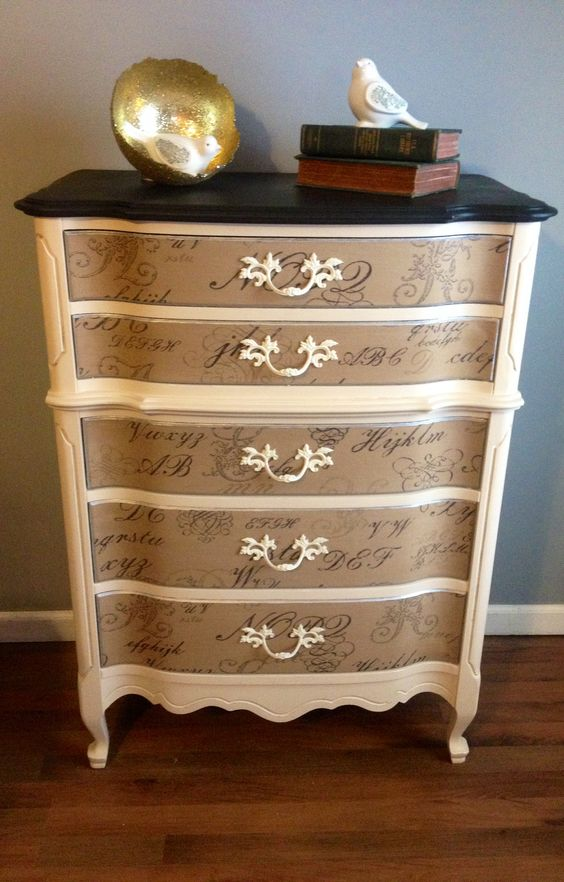 Refinished French Provincial Chest Of Drawers Fabric