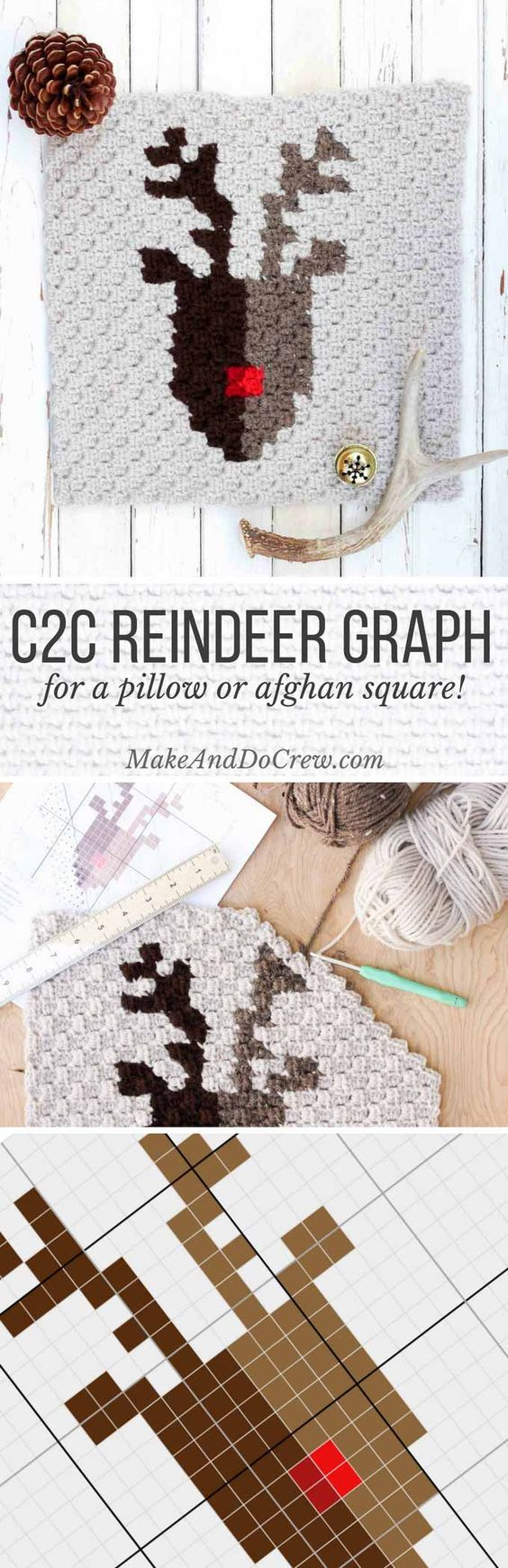 This free pattern for a corner to corner crochet reindeer graph is perfect as part of a Christmas afghan, but also works on its own as a festive pillow square. Create a graphgan that your family can enjoy for many Christmases to come!: