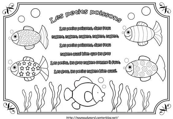comptine les petits poissons illustr e par nounoudunord imprimer le coloriage grand format en. Black Bedroom Furniture Sets. Home Design Ideas