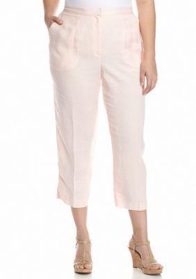 Ruby Rd Blush Crush Plus Size Linen Capri Pants | Blush, Products ...