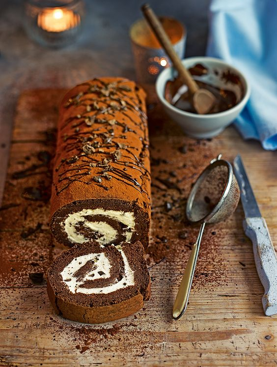 This chocolate swiss roll recipe is updated with a coffee kick in the cream filling.