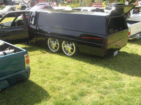 Mini Truck Axles : Modern long bed mini truck with six wheels tandem axle