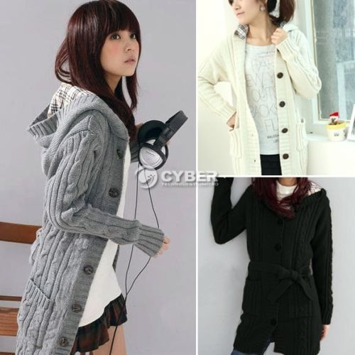 Details about Women&39s Hooded Winter Cardigan Sweater Hoodie Coat
