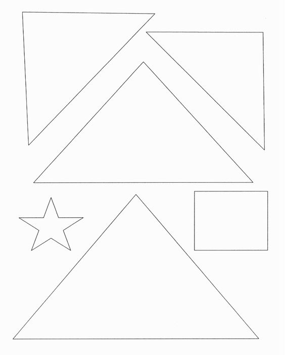 Christmas Tree Template With Shapes Star Square Triangle Tree Coloring Page