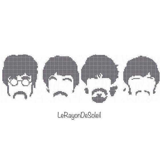 Los Beatles patrón de punto de cruz 4 PEQUEÑAS por LeRayonDeSoleil
