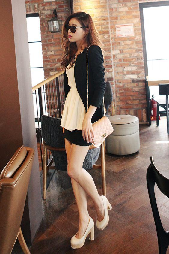 elegant  korean  black jacket  white top  tight black skirt  white heels  light pink bag