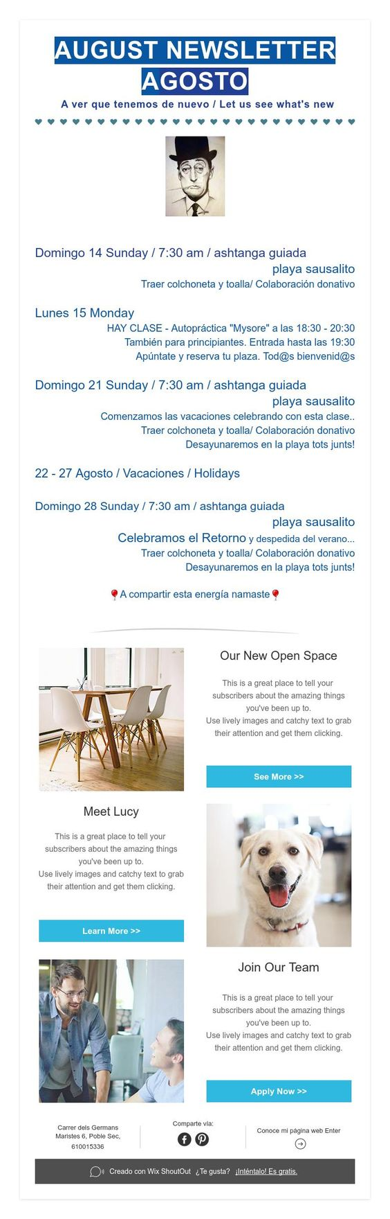 August Info.  A ver que tenemos de nuevo / Let us see what's new