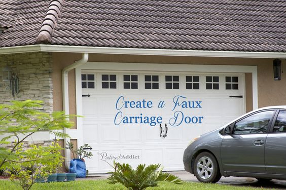 Creating a faux carriage garage door white doors window for Faux carriage garage door