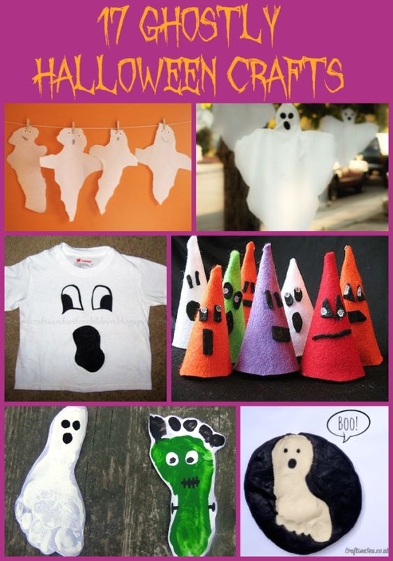 Here are 17 Ghostly Halloween Crafts from easy DIY ghost face t shirts to ghost…