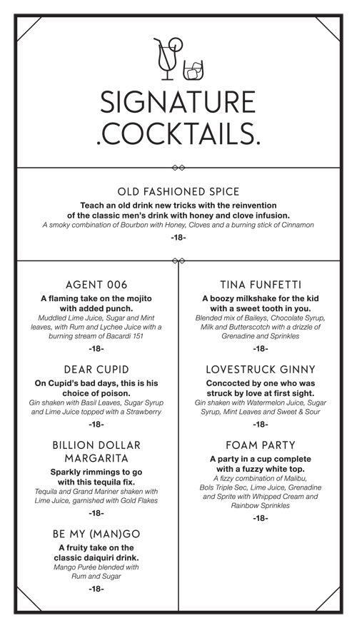 Current Aviary Menu (Front) 5214 Django Cocktail menu concepts - drinks menu template