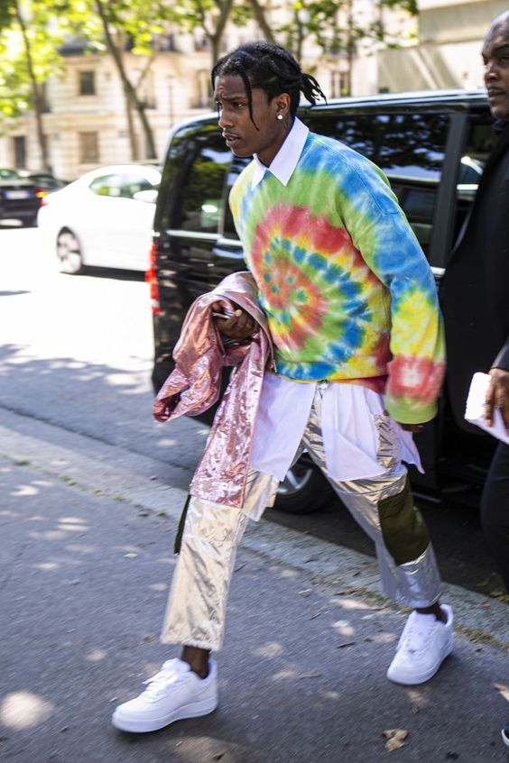 ASAP Rocky: And now, the least lazy way to wear your tie-dye sweatshirt.