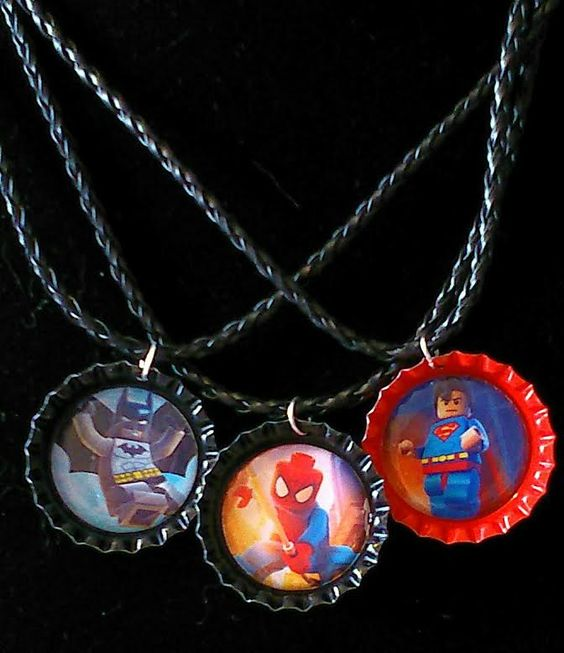 super hero lego bottle cap necklaces from F'Moush