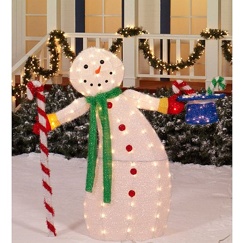 Holiday time 42 animated snowman light sculpture for Animated christmas decoration