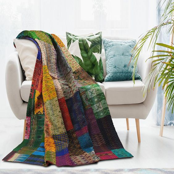 Traditional Multi Color Patola Silk Blend Kantha Throw Blanket