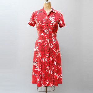 40s Floral Dress Red now featured on Fab.