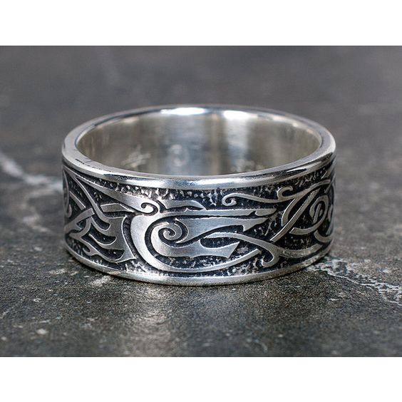 Viking Wolf Ring Sterling Silver Viking Ring Celtic Mans Ring Liked On
