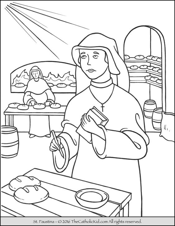 Saint Faustina Coloring Page - The Catholic Kid
