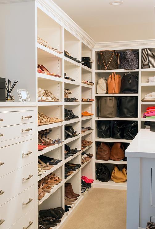 Floor To Ceiling Modular Shoe Shelves With Decorative Trim