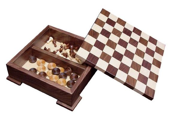 This Amish Wooden Checker Board Game with Base is proudly made in the USA!: