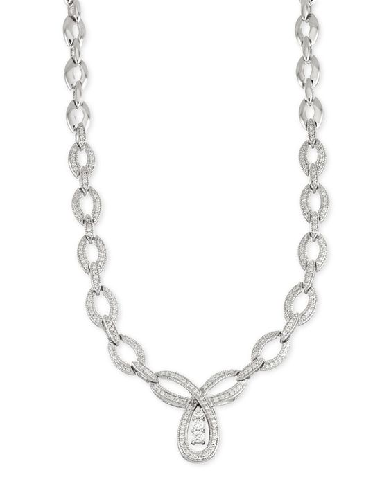 Wrapped in Love Diamond Linked Pendant Necklace (3 ct. t.w.) in 14k White Gold