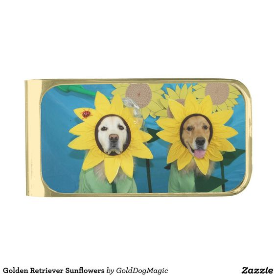 Golden Retriever Sunflowers Gold Finish Money Clip