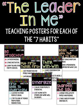 """This product includes the """"7 Habits"""" posters I use in my classroom. Each poster…"""