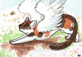 Winged Calico Kitty ACEO by Pannya