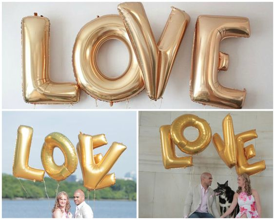 """Awesome idea for Bridal Showers, Engagement photoshoot, Wedding Decor or any party - Love 40"""" Gold Foil Balloon - Huge Balloons! - Hey Bride! Etsy, Amazon"""