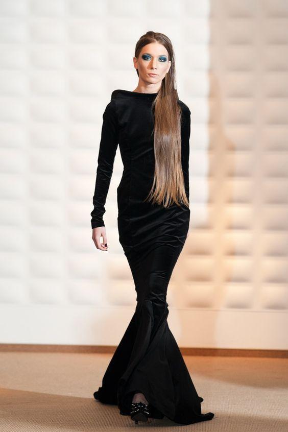 Long black velvet dress  Sensual Velvet  Pinterest  Black ...
