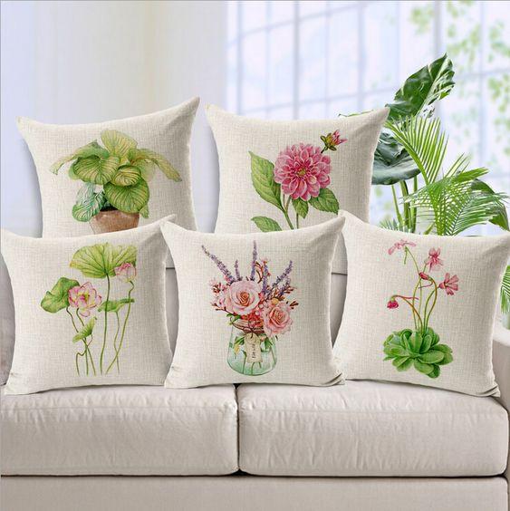 Flores frescas cojín almofadas planta de maceta verde euro almohada cubierta loto cojines decorativos decoración casera moderna