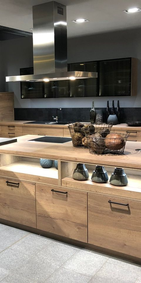 Kitchens In Wood Look Can Be Very Well With Schw Indoordesign Kitchens Schw Wood Modern Kitchen Design Kitchen Cabinet Remodel Black Kitchen Cabinets
