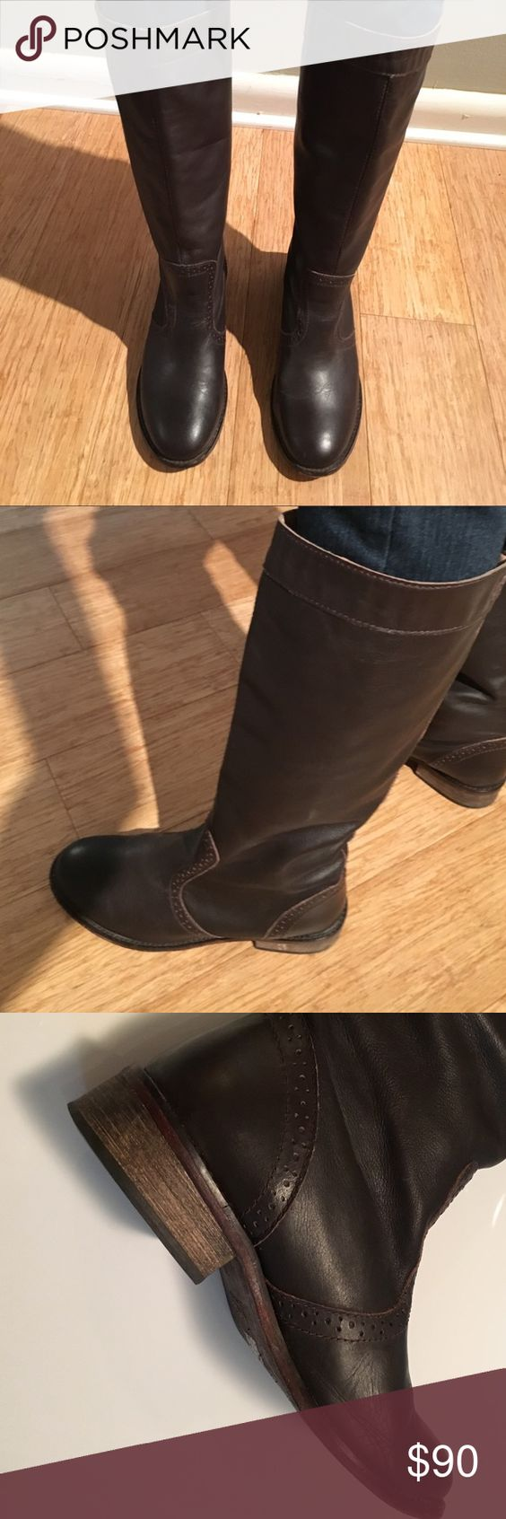 Diesel Tall Brown Boots Slight distressed look. Great condition. Soles show slight signs of wear. Super comfortable and soft leather. One inch heel. Perfect for Fall! Diesel Shoes Winter & Rain Boots