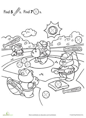 Preschool Animals Counting & Numbers Sports Worksheets: Find the Hidden Objects: Baseball Worksheet