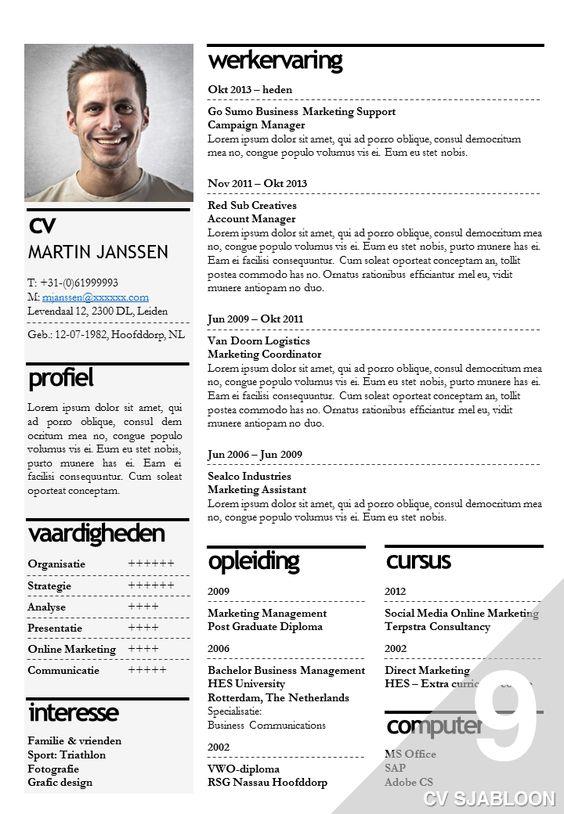 Cv Voorbeeld Word - Google Zoeken | Cv | Pinterest | Words And Search