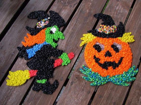 vintage Halloween popcorn plastic decorations ~ Witch and Pumpkin Jack-O-Lantern