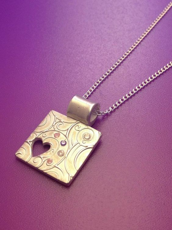 Silver square made with art clay