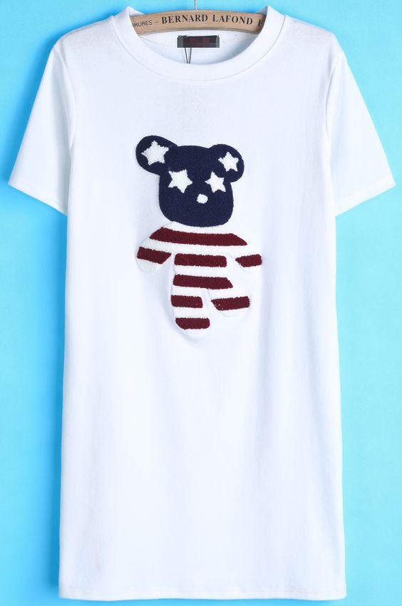 White Short Sleeve Bear Print Long T-Shirt US$20.79