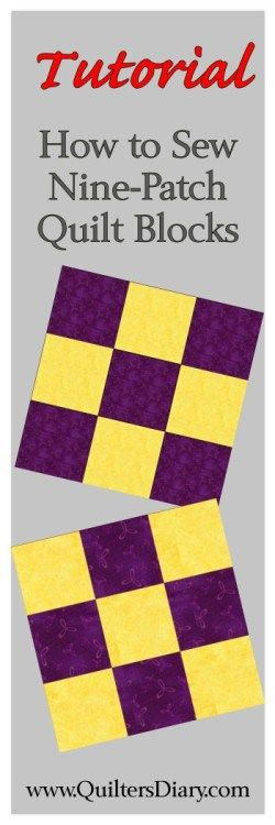 . This week's easy quilt block is made of nine small fabric squares arranged in a checkerboard pattern. The graphic on the left shows the two kinds of nine-patch blocks you can make from two …