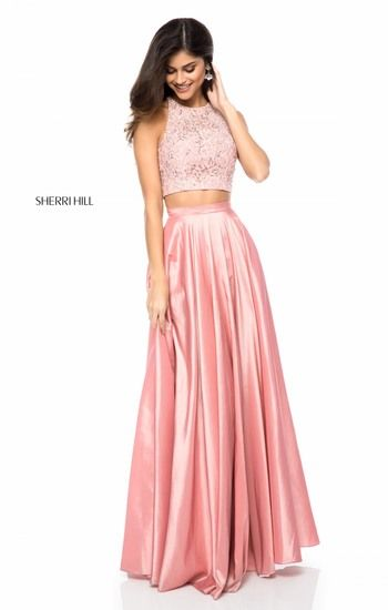 Two piece prom dress with bling halter top and silk skirt. Available in  blush 93eaef706