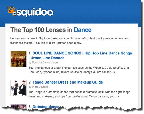 Fifteen of my Squidoo Articles are in the Top 100 Dance Lenses!