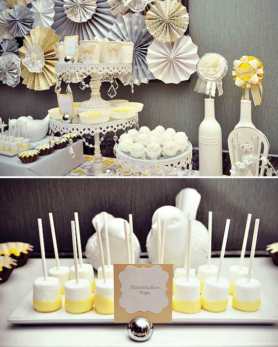 yellow gray and white vintage dessert table