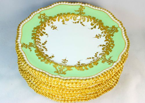 Fine Antique Set 10 Copeland China Dinner Plates Hand Painted Raised Gold  Paste | eBay