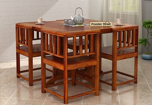 Cohoon 4 Seater Dining Set Honey Finish 4 Seater Dining Table