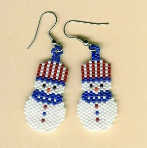 "My very first bead work was this ""snowman"" pattern and I used large seed beads. It came out about 3 inches tall. Then I found the tiny ""Delica"" beads which made a perfect earring size."