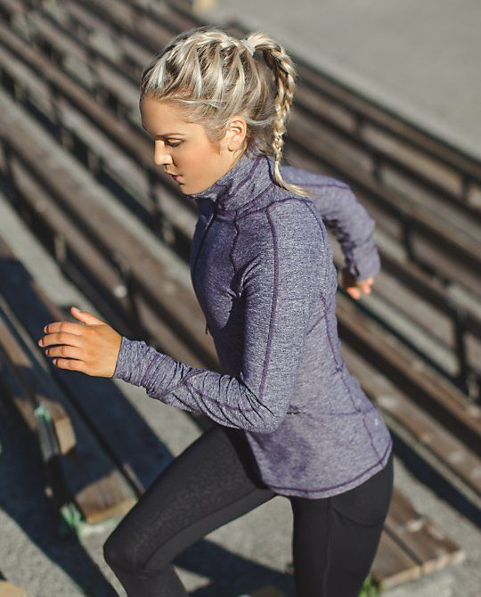 Race Your Pace 1/2 Zip | We hit the ground running year round so we made this half-zip to move with us. The cozy fabric is soft against our skin as a base layer when it's chilly, and perfect over a tank when temperatures are on the rise. Race you to the park!
